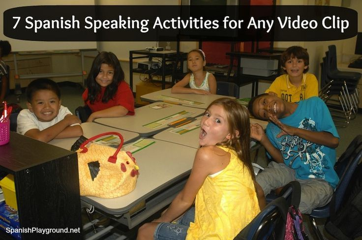 Fun Spanish activities: 7 Spanish speaking activities that can be used with any video clip. Great Spanish activities for kids! From Spanish Playground. http://spanishplayground.net/speaking-activities-video/