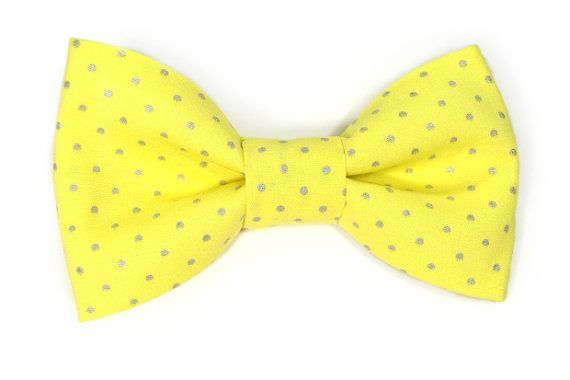Men Yellow and silver dost bowtie Wedding Kids Clip-On by nicebuzz