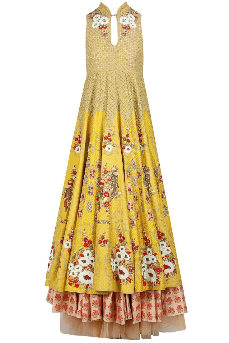 Yellow floral embroidered anarkali with peach skirt #punjabisuits #designpunjabisuit #suitdesign  #punjabisuitdesings  #punjabisuitgirls