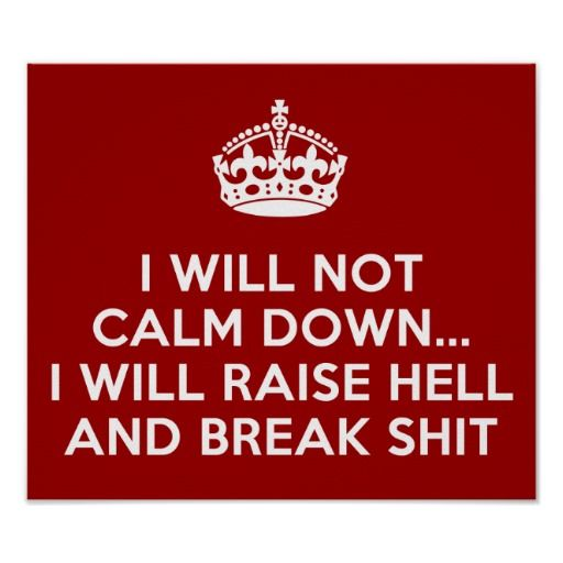 I will not calm down, I will raise hell and break stuff!