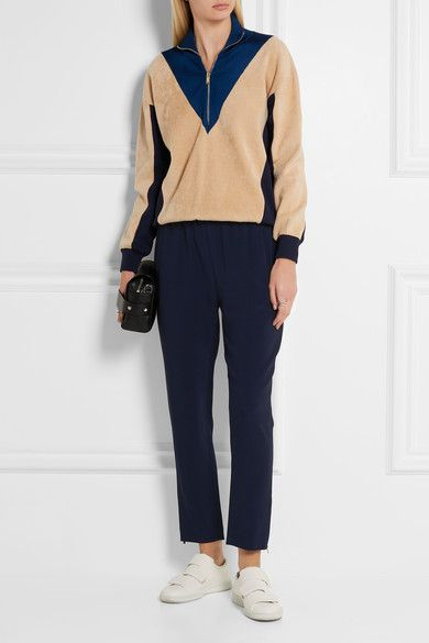 Stella McCartney - Tamara Cropped Stretch-crepe Tapered Pants - Storm blue