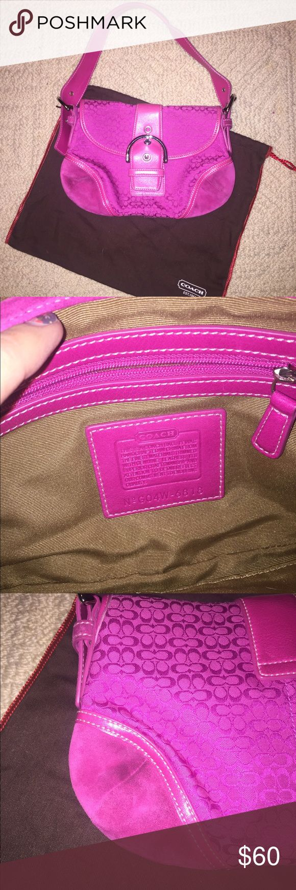 Coach Hobo Bag ⭐️FIRM⭐️ ⭐️HOT⭐️ EUC Authentic Hobo. Hot pink in color. No rips, stains or markings in interior. Corner suede/leather sections on exterior can be cleaned. Comes with original dust bag. 🚫No trades. 🚫Low balls. Has tons of life. Downsizing collection. Smoke free home. FIRM on price Coach Bags Hobos