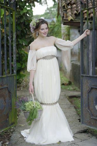 メリー・マリー(Merry Marry) Merry・Marry-1082 エンパイアラインを膝で絞りマーメイドのシルエットを浮かびあがらせた新しいマーメイドドレス。
