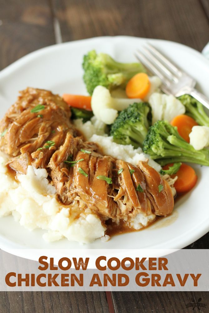 This Slow Cooker Chicken and Gravy couldn't get any easier and it's SO good!  Plus, this recipe only calls for 4 ingredients!!