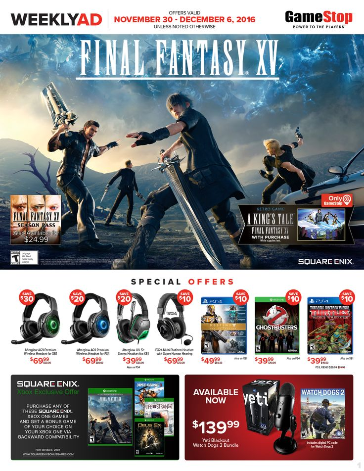 Game Stop Weekly Ad November 30 - December 6, 2016 - http://www.olcatalog.com/game-stop/game-stop-weekly-ad.html