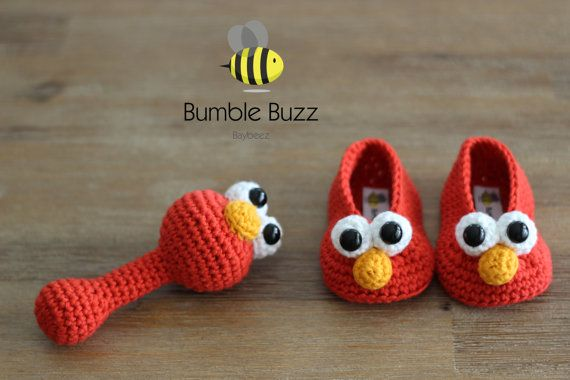Sesame Street Booties and Rattle / 0-6 Months by BumbleBuzzBaybeez