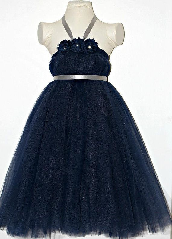 Navy blue and silver tutu dress wedding flower girl dress for Navy dresses for weddings