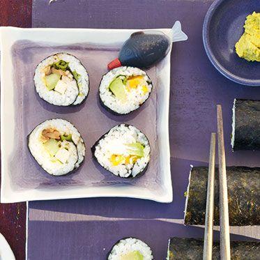 Vegetarische Sushi mit zweierlei Füllung
