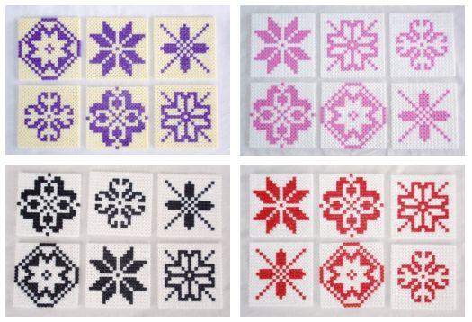 Hama-perler: Glassbrikker/coasters med Selbu-mønster.