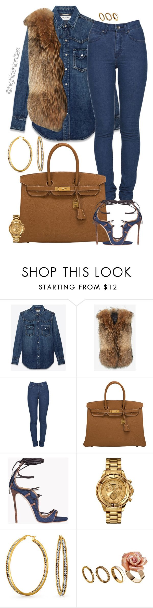 """Untitled #2688"" by highfashionfiles ❤ liked on Polyvore featuring Yves Saint Laurent, Adrienne Landau, Dr. Denim, Hermès, Dsquared2, Versus, Bling Jewelry and ALDO"