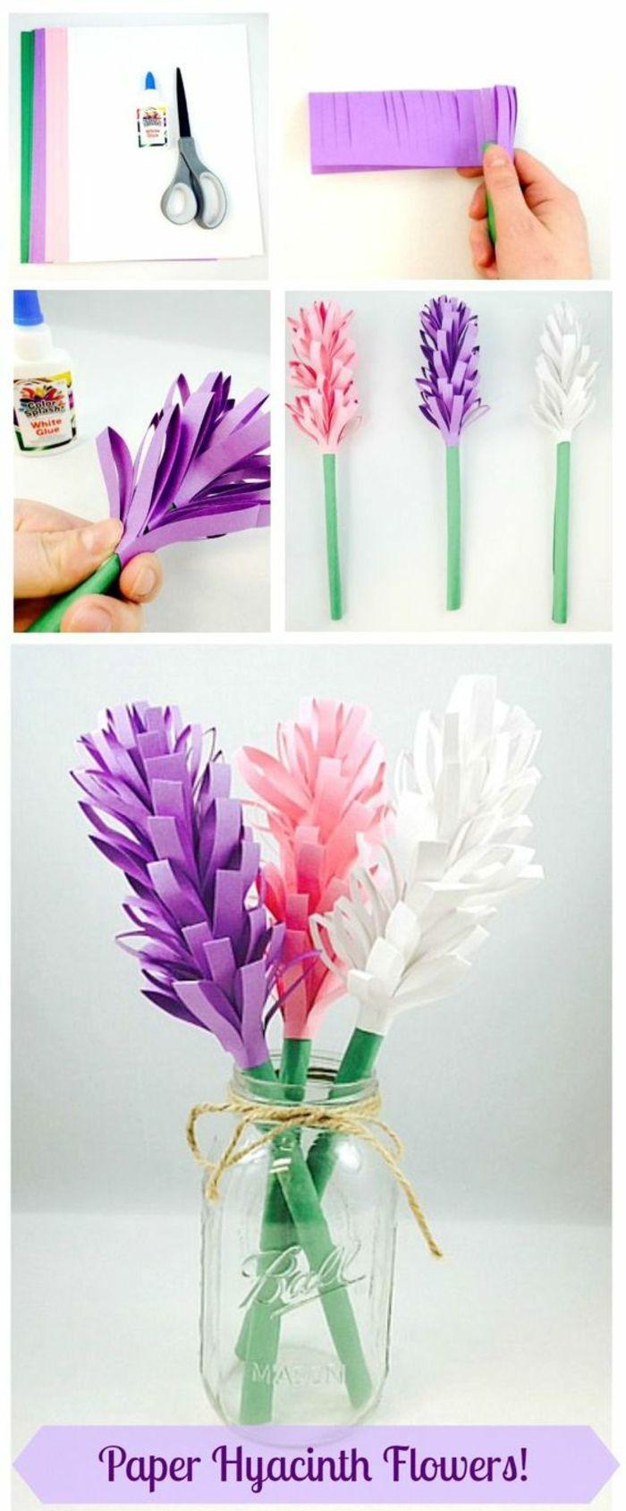 papierblumen basteln, einmachglas, schleife, tischdekoraton