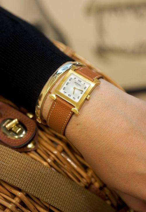 Hermes cognac H watch