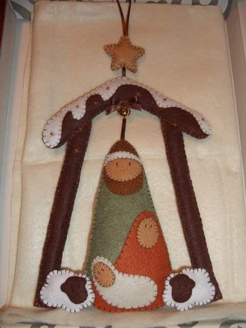 Feltro Fácil: Molde de Presépio de Natal; Crib felt christmas 1