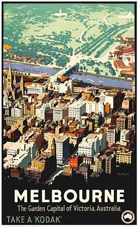Vintage James Northfield Melbourne GArden Capital of Victoria Australia 1930s Travel Posters Prints