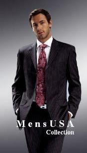 High quality black pinstripe suit for men at discounted price.