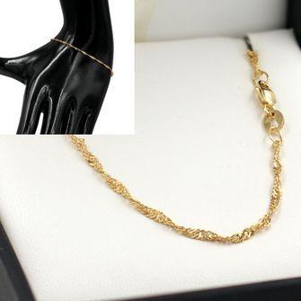 19cm Yellow Gold Singapore Rope Chain Bracelet- GB-SN30