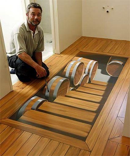 Floor mural that gives the illusion the floor is a a stairway leading to a beer cellar!
