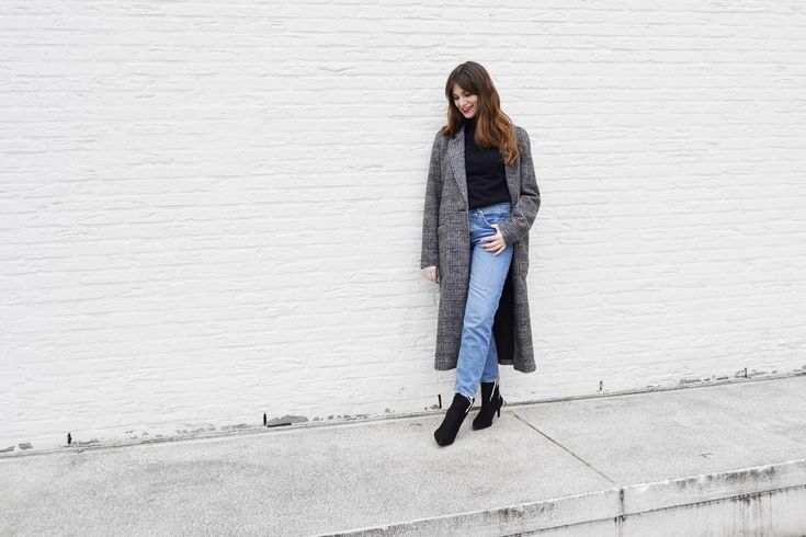 Checked coat, turtleneck sweater & sock boots