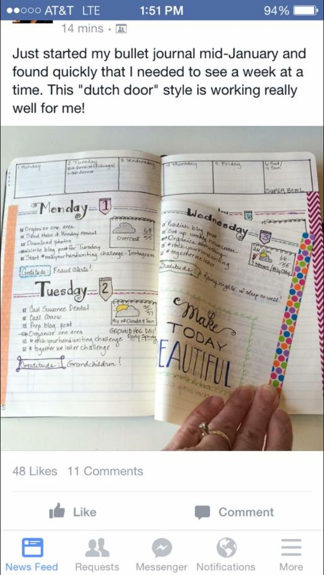 """""""Dutch Door"""" for your bullet journal; still see the week even if you spill over…"""