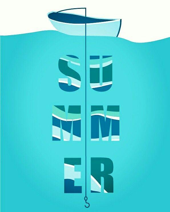 Poster about summer. Artist Nastya Komarova. Плакат о лете. Лодка, ловля рыбы, вода. Синий, голубой, белый используемые цвета.