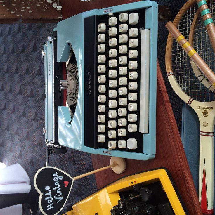 Our stunning cursive blue typewriter - available to hire.   www.hellovintage.com.au www.facebook.com/hellovintagehire    #hellovintage #vintage #vintagewedding #wedding #weddingdecoration #hipsterwedding #hipster #reception #customwedding  #weddingphotography  #weddinghire #typewriter #vintagetypewriter