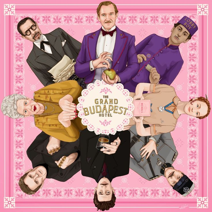 AVAILABLE ON SOCIETY6  Movie Poster : The Grand Budapest Hotel illustration by Kitty Rouge (Pink Version)  Directed by Wes Anderson ; starring Ralph Fiennes, Adrien Brody, Tilda Swinton, Edward Norton, Willem Dafoe, Tony Revolori, Saoirse Ronan & Jeff Goldblum