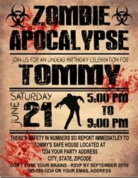 Personalized Zombie Apocalypse Birthday or Halloween Party Invitation - Walking Dead Theme Party Invitation