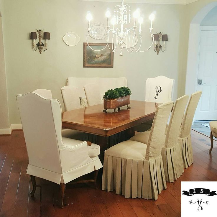 Gorgeous Dining Room By Holly Mathis Interiors Custom Chair Slipcovers In Cotton Canvas And Flax