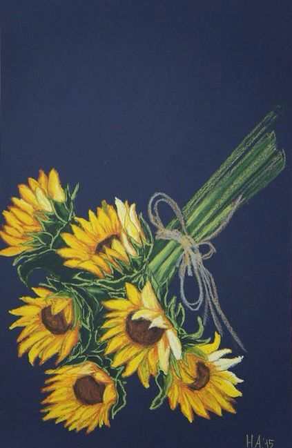 Sunflowers. Color paper, oilpastel