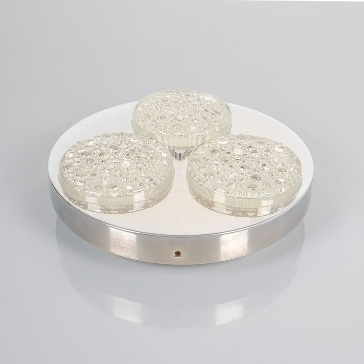 Textured Glass and Aluminum Flush Mount fixture light, Italy 1960. 14.2 inches in diameter, featuring 3 textured glass spots on an aluminum body with white enameled metal base. It takes 3x e14 bulbs with 40W max (supports Led)
