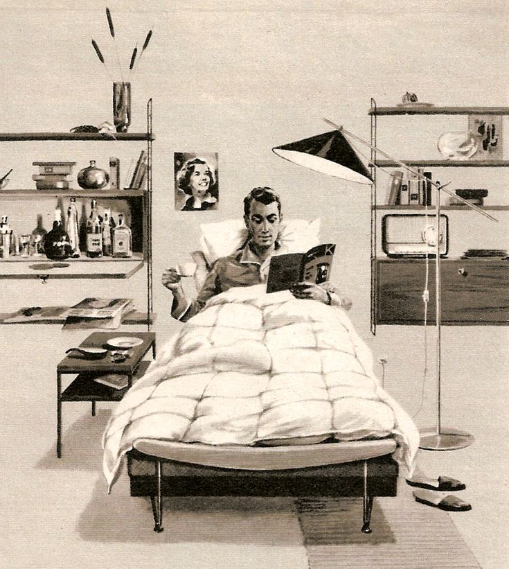 1961 ad for a bachelor pad bedroom.