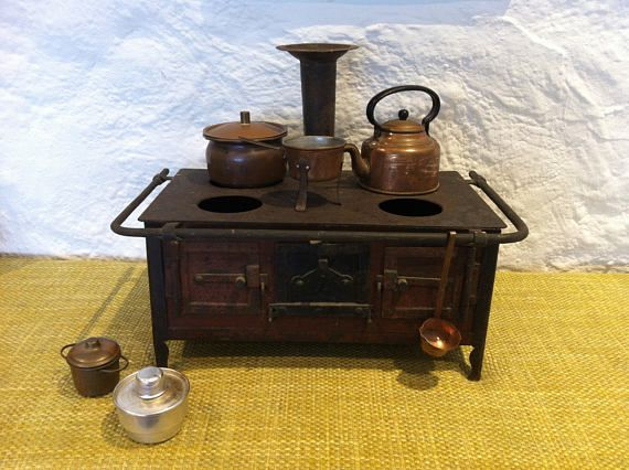Antique metal dollhouses cooker sheet metal toys toy stove with copper accessories boiler pot etc.