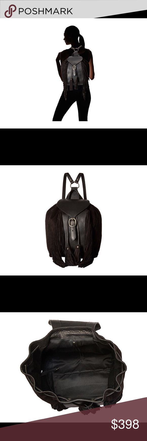 NWT Frye Clara fringe backpack  Frye quality black leather and suede backpack  The Frye® Clara Fringe Backpack mixes fashion and functionality that makes this an ideal backpack for the office and the weekend. Soft vintage Italian leather and suede backpack. Features beautiful fringe and tassel detail for a touch of style. Two leather shoulder straps with adjustable metal buckles. Interior fabric lining with leather strap and key clip. Front metal buckle closure. Width: 9 in Depth: 5 in…