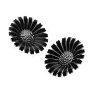 DAISY örhängen – rodiumpläterat sterlingsilver med svart emalj, 2200 kr från Georg Jensen