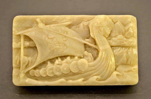 VIKINGS SILICONE MOLD soap bar mould 5oz resin plaster chocolate wax icing viking drakkar boat – Molding