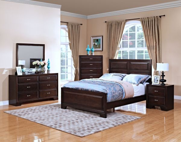Clair 4PC Queen Bedroom Set $1,199.99 Sku:110127 The Clair collection is a very simple, stream line design. The dark chestnut finish throughout the collection creates a beautiful back drop for the complementing silver handles. Complete your contemporary style with the Clair collection. Please visit our website for benefits and warranty information.