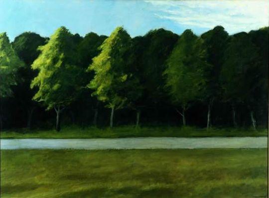 Route et arbres de Edward Hopper
