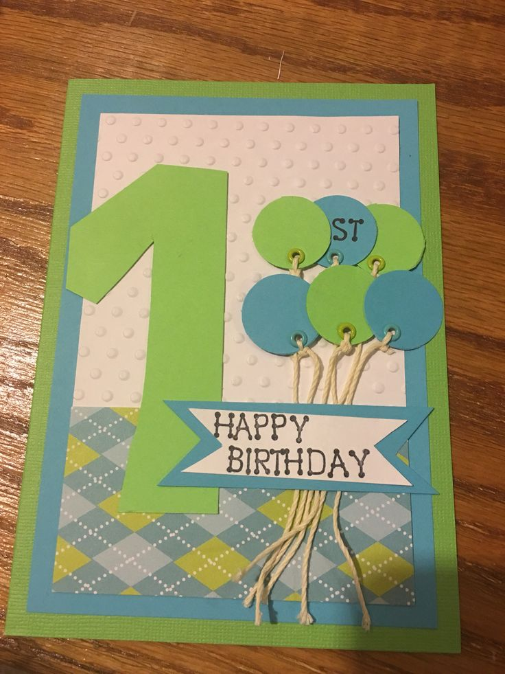 One year old little boy birthday card First birthday