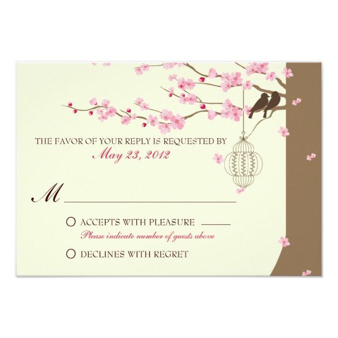 Love Birds Vintage Cage Cherry Blossom RSVP Card. Spring Wedding  InvitationsWedding ...
