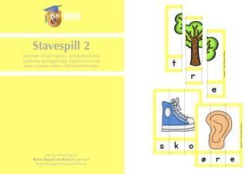 Stavespill 2 inneholder et sett med 18 trelydsord som lamineres og klippes opp. Elevene staver og setter sammen ordene. Spillet er selvkontrollerende fordi bildet frst blir helt nr ordet er satt sammen. Stavespill 1 kan brukes i begynneropplring, spesialundervisning og for grunnleggende norsk for minoritetssprklige.