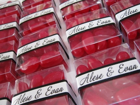 Personalised Boxes with Single Coloured Jelly Beans. Wedding bomboniere from Kelly Beans Bomboniere... see more at http://kellybeans.brisbane.weddingcircle.com.au