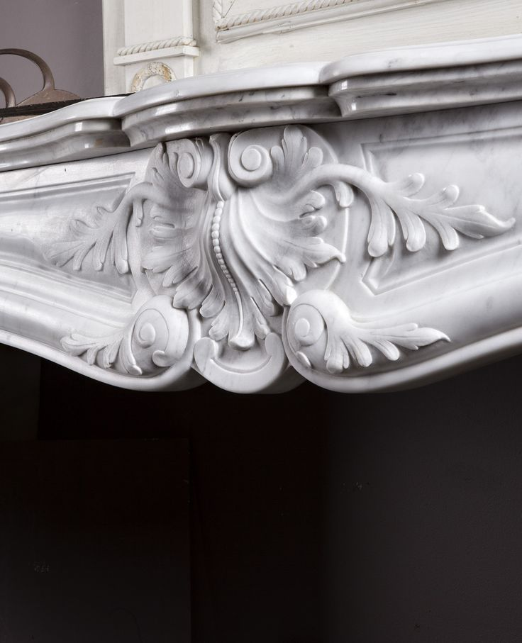 Marble fireplace, antique, carrara marble, coquille, ornamental, mantle piece