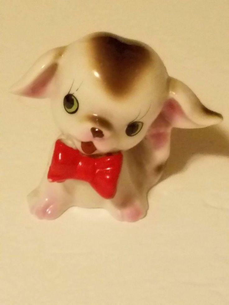 Puppy Dog Red Bow Tie Ceramic mini Figurine Japan 1960's Arnart kitschy Shelf  #Arnart