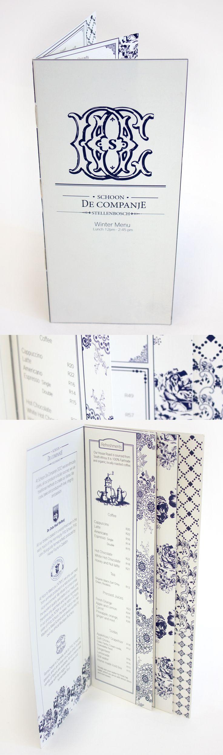 Class: 1 Year Print Design & Publishing || Name: Carlin van Zyl || Year: 2014 || Recreate your favorite restaurants menu. http://friendsofdesign.net/1-year-print-design-publishing