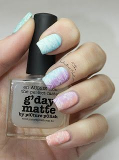 Spring Inspired matte gradient stamping nail art design with piCture pOlish G'day Matte Top Coat from The Austranailian blog.