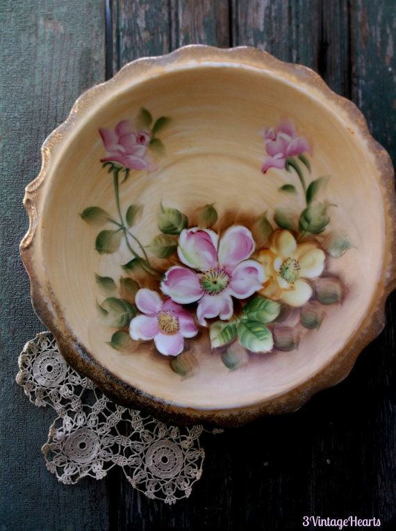 Vintage Woodland China Bowl. Wild Roses Hand painted florals w Gold details.  Inarco Japan China. Rustic Farmhouse Decor