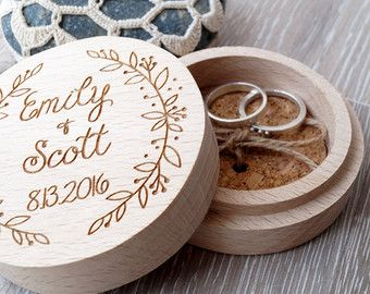 Personalized wooden ring bearer box, rustic wedding ring bearer, custom laser engraved ring box.  Size: 4 round  This rustic ring bearer box will be personalized for you, so please do not forget to write the names and date in the note to seller section at check out.  **************************************** The engraving on the box can be customized, so feel free to contact us with any ideas and questions you may have.  **************************************** Thanks