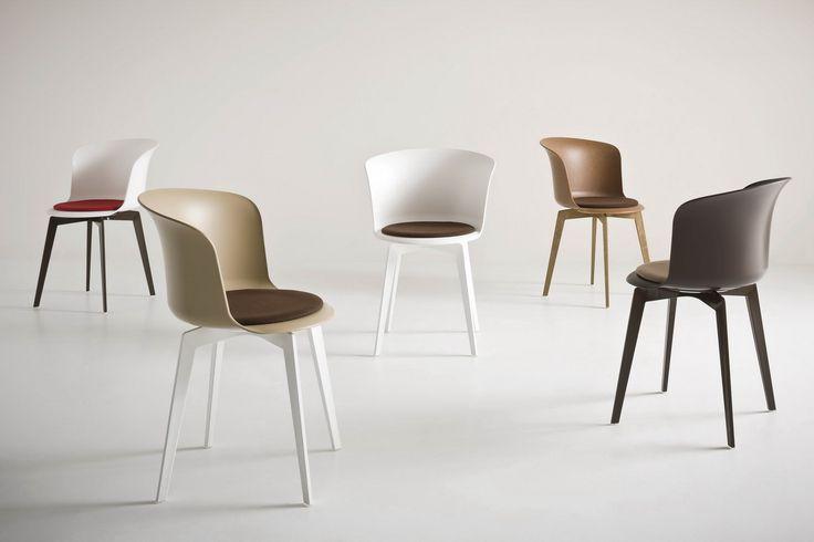 Jídlení židle EPICA, plastová konstrukce s čalouněným sedákem, volitelně otočná, výrobce Gaber