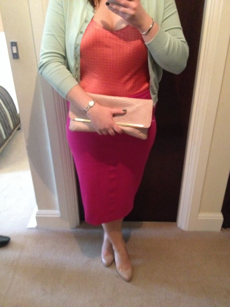 Wedding outfit: Mint green cardigan with lace shoulders, pink spotted silk cami, vibrant pink pencil midi skirt, with nude heels & pink clutch bag.   ciaraspillsthings.wordpress.com