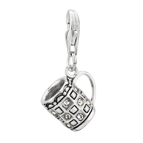 Clear Crystal Coffee Cup Dangle 925 Sterling Silver Lobster Clasp Pendant Charms | Charmsstory.com #coffee #pandora #charms #sterling #silver